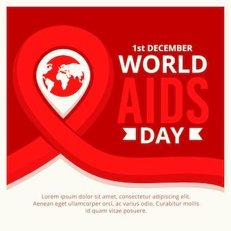 Símbolo del día mundial del sida con fecha