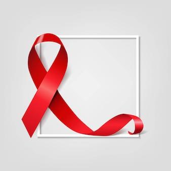 Símbolo del día del sida cinta roja sobre fondo gris