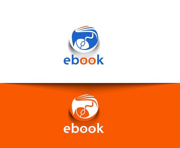Símbolo del diseño de logotipo de vector de libro electrónico