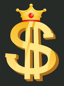 Símbolo de dólar con corona, dinero dorado