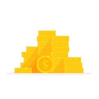 Símbolo de dólar pila de monedas de oro. ilustración de vector de dibujos animados de pila de dinero