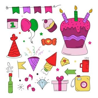 Símbolo de doodle de feliz cumpleaños en colores