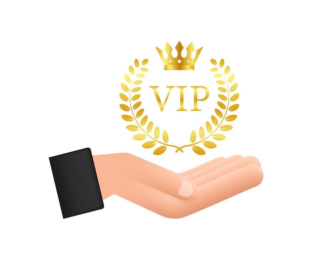 Símbolo dorado de la exclusividad la etiqueta vip con purpurina en las manos persona muy importante vip i