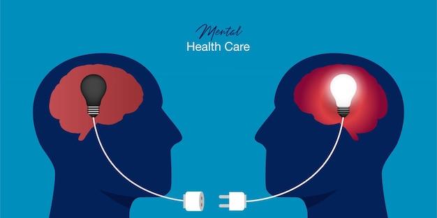 Símbolo de dos cabezas humanas con bombillas conectadas. concepto de psicoterapia