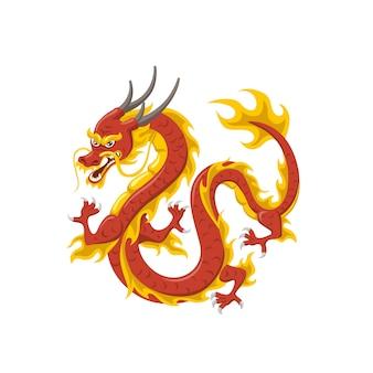 Símbolo del dragón rojo chino de poder y sabiduría volando aislado en blanco