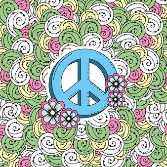 Símbolo del emblema hippie con diseño ornamental