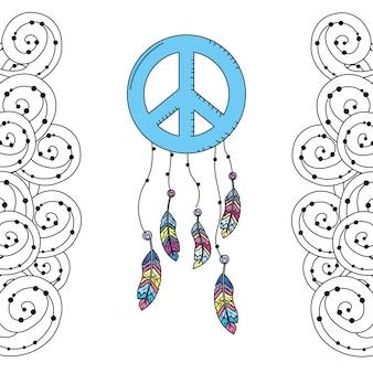 Símbolo del emblema hippie con plumas y diseño ornamental