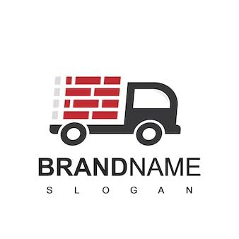 Símbolo de la empresa de construcción del logotipo del constructor de camiones