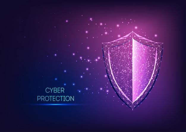 Símbolo de escudo futurista de baja protección poligonal brillante sobre fondo degradado azul oscuro a púrpura.