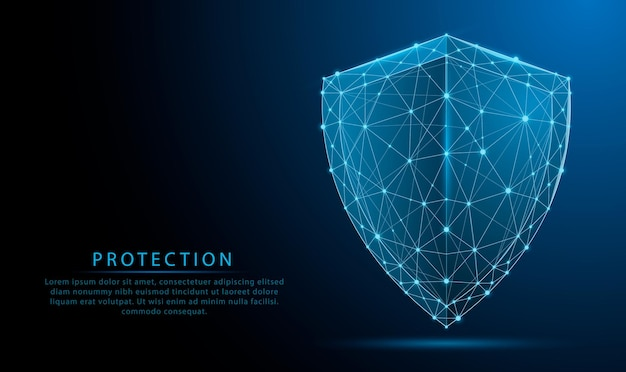 Símbolo de escudo de guardia poligonal bajo brillante futurista 3d sobre fondo azul oscuro ciberseguridad