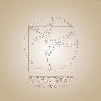 Símbolo de estudio de danza. ilustración estilo da vinci para clases de baile.
