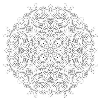 Símbolo étnico mandala para colorear. patrón de terapia antiestrés.