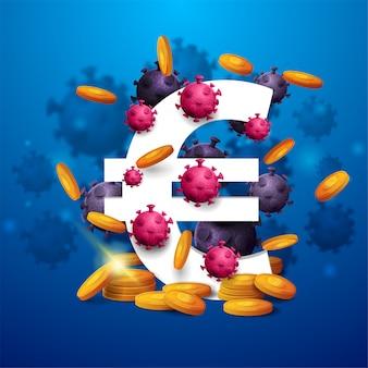 Un símbolo del euro blanco tridimensional con monedas de oro alrededor y rodeado de moléculas de coronavirus sobre fondo azul.