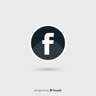 Símbolo de facebook blanco y negro