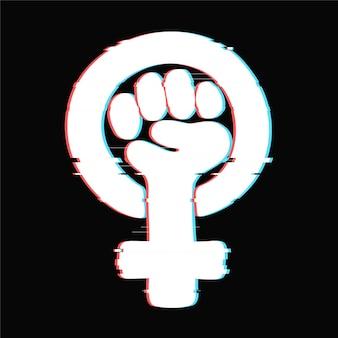 Símbolo del feminismo con efecto de falla