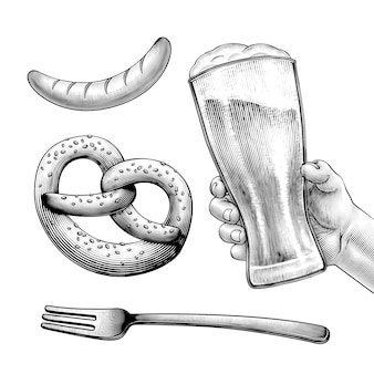 Símbolo del festival de la cerveza de estilo grabado como pretzels, cerveza, salchichas sobre fondo blanco