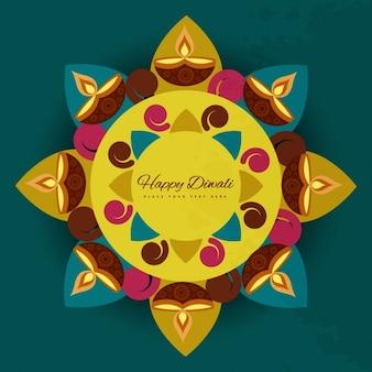 Símbolo de un flor con el tema de diwali