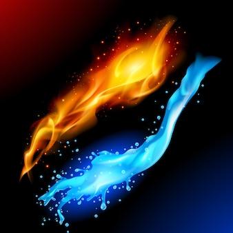 Símbolo de fuego y agua
