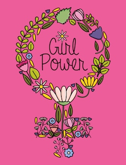 Símbolo de género femenino con flores estilo pop art