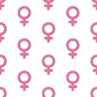 Símbolo de género femenino de patrones sin fisuras sobre un fondo blanco. ilustración de vector de tema de género