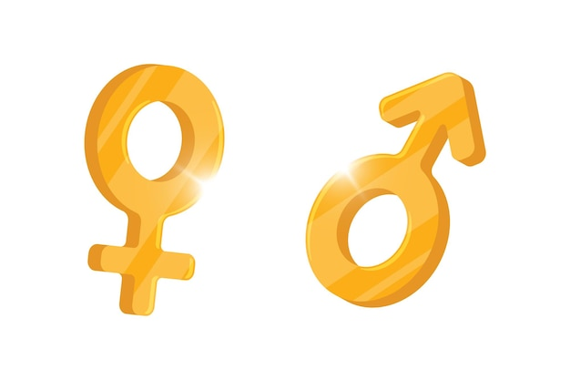 Símbolo de género heterosexual marte y venus oro iconos masculinos y femeninos vector signo aislado hombre y