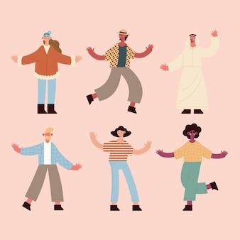 Símbolo de la gente de la diversidad en fondo rosa