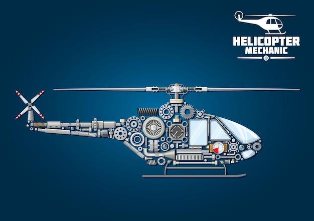 Símbolo de helicóptero con silueta detallada mecánica de helicóptero, compuesto por eje de transmisión y cabeza de rotor con palas, cabina