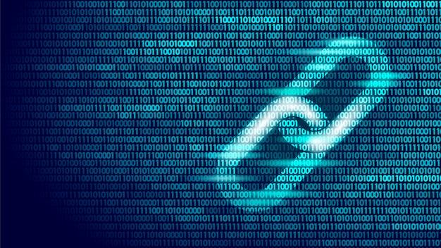 Símbolo de hipervínculo blockchain en el flujo de datos grandes del número de código binario