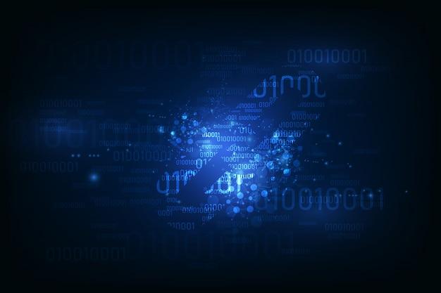 Símbolo de hipervínculo de blockchain en el número de código binario información de flujo de datos grande.