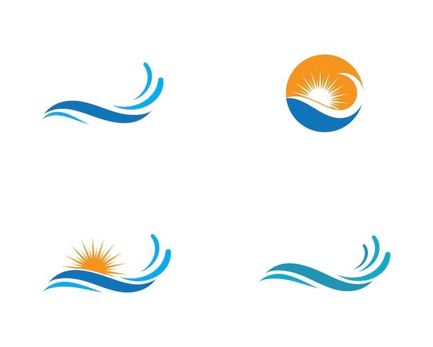 Símbolo y el icono de la ola de agua logo template