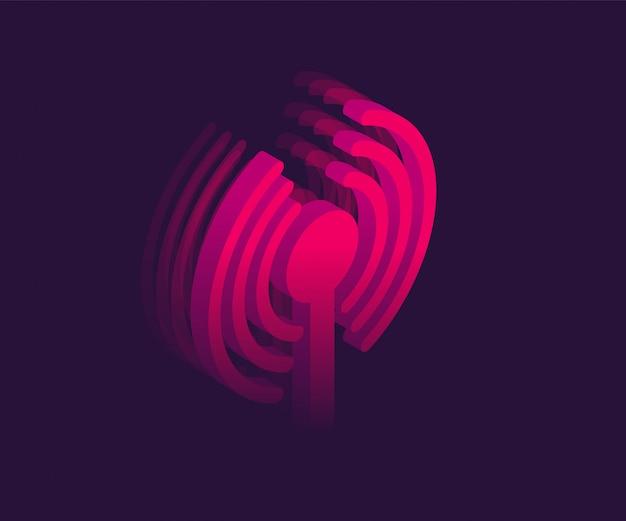 Símbolo isométrico de red wifi. vector ilustración 3d