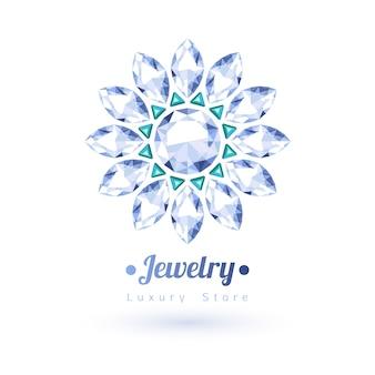 Símbolo de joyería de piedras preciosas blancas y verdes. forma de estrella o flor. esmeraldas y diamantes sobre fondo blanco.