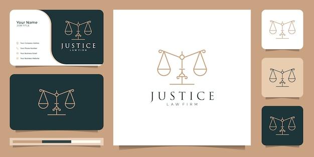 Símbolo de la ley de justicia premium bufete de abogados, diseño de logotipo y plantilla de tarjeta de visita.