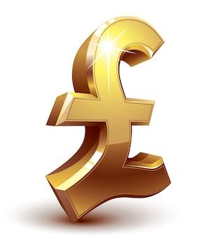 Símbolo de libra de oro brillante. organizado por capas. colores globales. gradientes utilizados.