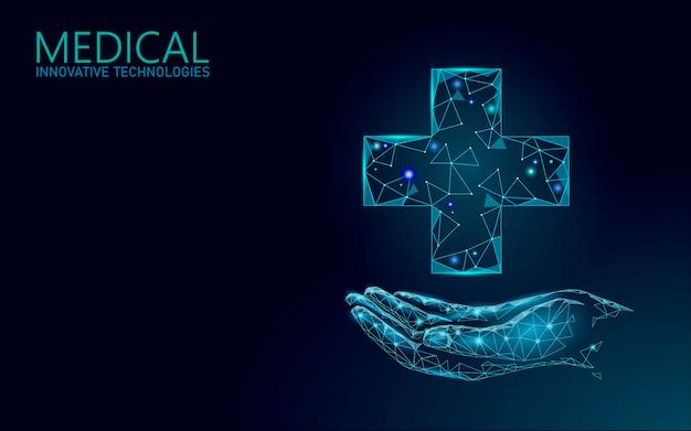 Símbolo en línea médico cruzado médico concepto. aplicación de consulta médica. diagnóstico de salud web geométrica moderna red de hospital banner llamar a fondo de mercado de farmacia baja poli