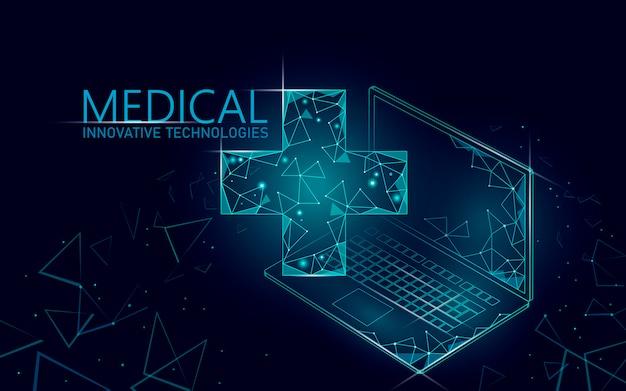 Símbolo en línea médico cruzado médico concepto. aplicación de consulta médica. diagnóstico de salud web red de hospital moderno geométrico