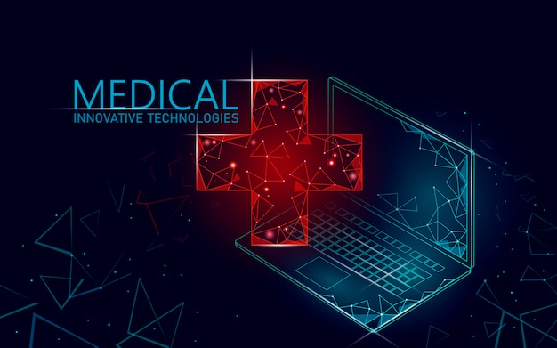 Símbolo en línea médico cruzado médico concepto. aplicación de consulta médica. web diagnóstico sanitario geométrico moderno hospital networ