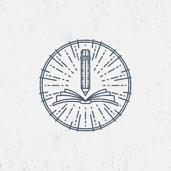 Símbolo de lineart para el conocimiento, la educación, la escuela, el arte. logotipo gráfico, etiqueta.