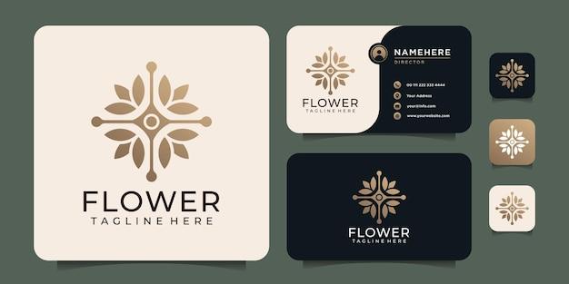 Símbolo de logotipo de hoja de flor dorada de lujo de belleza para spa de naturaleza de yoga de salud