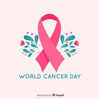 Símbolo de la lucha contra el cáncer de mama diseño plano y flores.