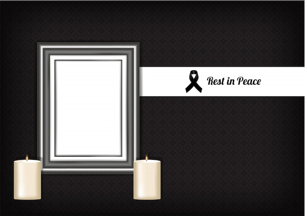 Símbolo de luto de maqueta con cinta de respeto negro, marco y vela. descansa en paz ilustración de vector de tarjeta fúnebre.