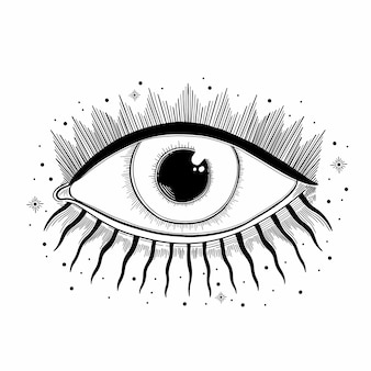 Símbolo del mal de ver el ojo. emblema místico oculto. signo esotérico alquimia, estilo decorativo, providencia a la vista.