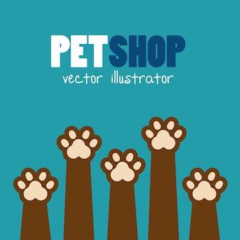 Símbolo mascota tienda pata impresión marrón icono