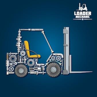 Símbolo de mecánica de cargador con carretilla elevadora, compuesto por brazos de horquilla, ruedas, asiento, engranajes, rodamientos de bolas, piezas del sistema hidráulico
