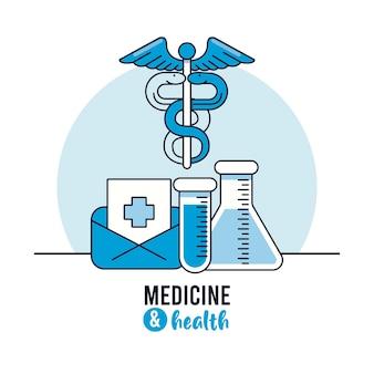 Símbolo médico del caduceo con pruebas de tubo y sobre