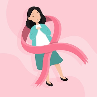Símbolo del mes de concientización sobre el cáncer de mama.