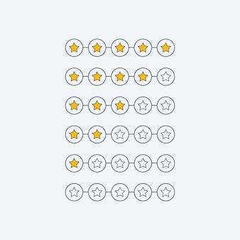 Símbolo mínimo de comentarios de clientes con calificación de estrellas