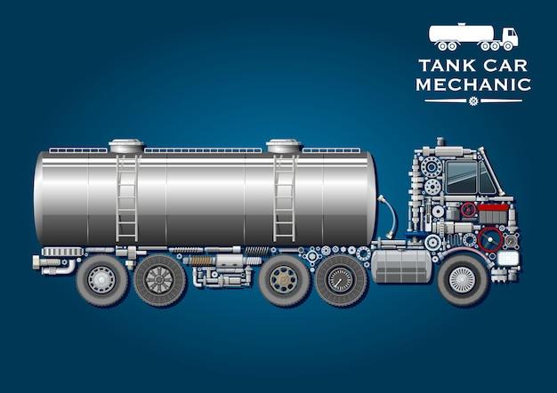 Símbolo moderno de camión cisterna con cisterna de combustible provisto de dos escaleras y silueta de camión tractor, compuesto por ruedas, cigüeñal, ejes, sistemas de transmisión y suspensión, rodamientos de bolas, tanque de combustible