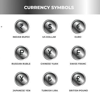 Símbolo de moneda estilo plata