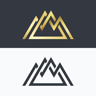 Símbolo de montañas de línea superpuesta. signos dorados y monocromáticos, logotipos.